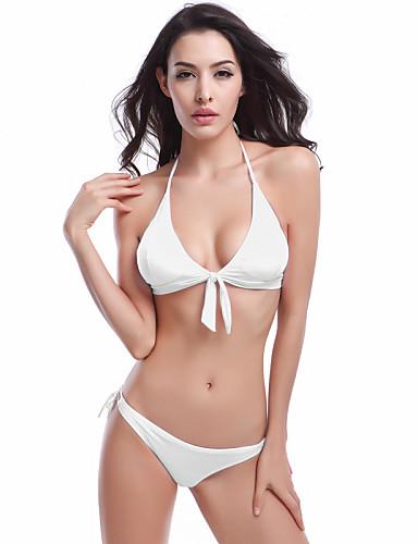 Nais- Nylon / Spandex Yksivärinen Bikini, Halter Pehmustetut rintaliivit