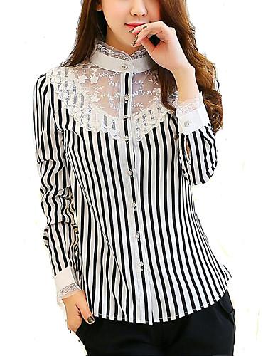 여성의 기하학 셔츠 카라 긴 소매 셔츠,심플 작동 화이트 아크릴 / 폴리에스테르 / 스판덱스 봄 얇음