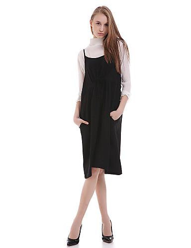 Mulheres Vestido Chifon Simples Sólido Altura dos Joelhos Com Alças Poliéster