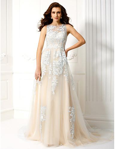 Γραμμή Α Illusion Seckline Ουρά μέτριου μήκους Τούλι Χοροεσπερίδα / Επίσημο Βραδινό Φόρεμα με Διακοσμητικά Επιράμματα με TS Couture®
