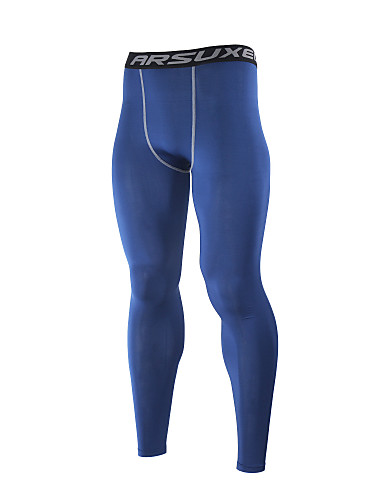 cheap Cycling Clothing-Arsuxeo Men's Long Sleeve Cycling Base Layer - Gray Navy Blue Light Green Solid Color Bike Pants / Trousers Tights Thermal / Warm Breathable Quick Dry Winter Sports Spandex Solid Color Mountain Bike