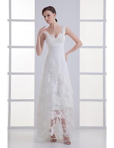 A-라인 스윕 / 브러쉬 트레인 튤 웨딩 드레스 와 비즈 아플리케 러플 으로 LAN TING BRIDE®