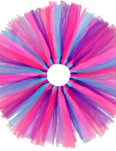 Tytön Color Block Mekko Pyhäpäivä Puuvilla Polyesteri Kevät Kesä Syksy Pitsi Oranssi Sininen Vaaleansininen