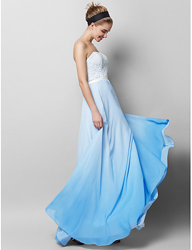 Sheath / Column Strapless Floor Length Chiffon / Lace Prom / Formal Evening Dress with Lace by TS Couture® / Color Gradient