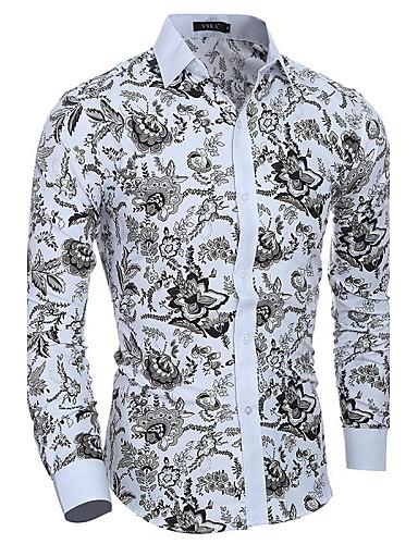 Homens Camisa Social Estampado, Floral Algodão Delgado