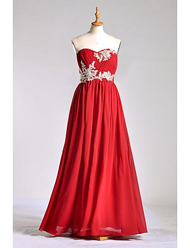 a-line rakkaus lattian pituus sifonki charmeuse morsiusneito mekko helmillä lan ting bride®