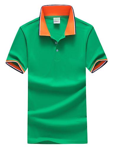 voordelige Herenpolo's-Heren Standaard Grote maten - Polo Sport Kleurenblok Overhemdkraag Slank Grijs / Korte mouw / Zomer