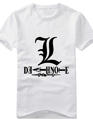 levne Cosplay a kostýmy-Inspirovaný Death Note Yagami Raito Anime Cosplay kostýmy japonština Cosplay T-shirt Tisk Krátký rukáv Tričko Pro Pánské / Dámské