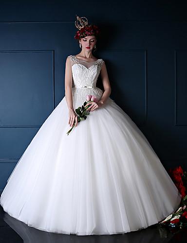 נסיכה שמלת כלה  עד הריצפה מחשוף עמוק טול עם חרוזים
