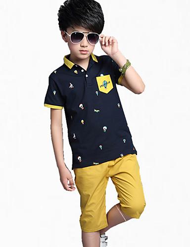 Menino de Camiseta / Calças Verão Algodão Color Block Menino de