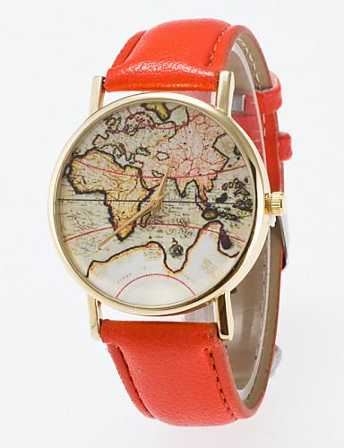 Mulheres Relógio de Pulso PU Banda Vintage / Fashion / Padrão Mapa do Mundo Preta / Azul / Vermelho / Um ano / Jinli 377