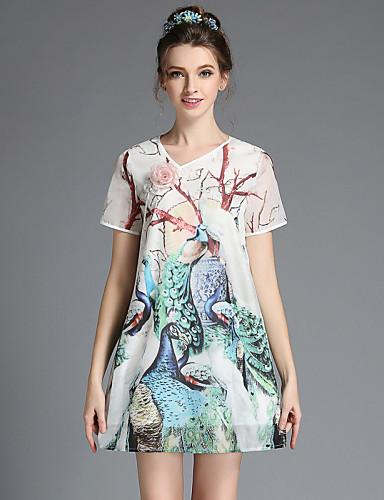 aofuli ljetne berba plus size žene elegantne kineski cheongsam stil ispisa paun labav haljina