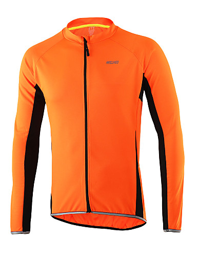 cheap Cycling Clothing-Arsuxeo Men's Long Sleeve Cycling Jersey Light Yellow Dark Grey Light Blue Solid Color Bike Jersey Top Breathable Quick Dry Anatomic Design Sports Polyester 100% Polyester Mountain Bike MTB Road Bike