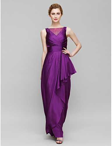 Sheath / Column Bateau Neck Floor Length Charmeuse Mother of the Bride Dress with Beading Criss Cross by LAN TING BRIDE®