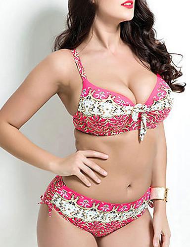 Dame Blomstret Bikini Badetøy Blomster,Bomull Grime Grønn Blå Rosa