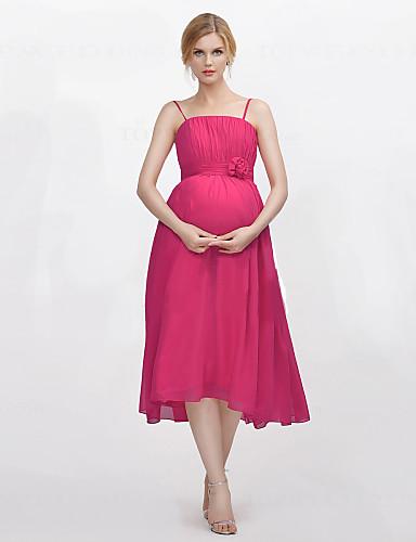 a-line 스파게티 스트랩 xiangyouyayi의 draping flower (s)와 함께 티타임 쉬폰 신부 들러리 드레스
