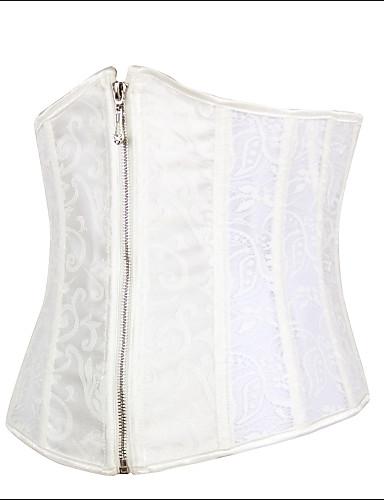 Göğüs Altı Korse / Büyük Beden Yatak kıyafeti Jakarlı Pamuklu / Dantel / Polyester / Spandeks Beyaz Kadın