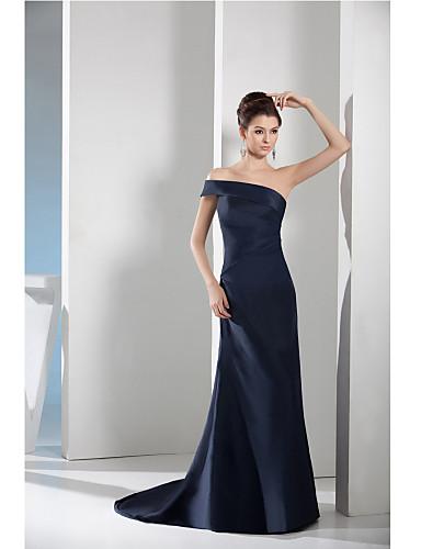 Eng anliegend Bateau Hals Hof Schleppe Taft Formeller Abend Kleid mit Seitlich drapiert durch TS Couture®
