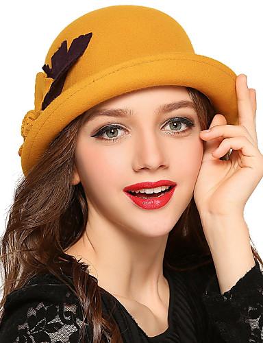 Ženske Color block Vintage Slatko Zabava Posao Ležerne prilike Proljeće Ljeto Jesen Zima Sva doba Vuna Polucilindar i cloche šešir
