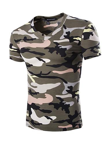 Homens Camiseta - Esportes camuflagem Algodão Decote V