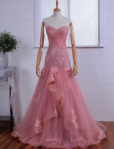 Sereia Decote Princesa Longo Renda Tule Evento Formal Vestido com Apliques Renda Cruzado de TS Couture®