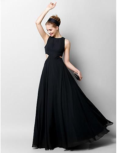 A-Linie Schmuck Boden-Länge Chiffon Ausgeschnitten Formeller Abend Kleid mit Plissee durch TS Couture®