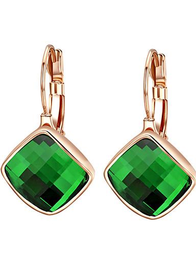 01c66e653119 Mujer Cristal Solitario Corte esmeralda Pendientes colgantes Zirconia  Cúbica Aretes damas Joyas Naranja   Verde Para