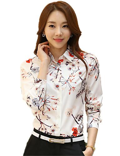 Polyester Skjortekrage Store størrelser Skjorte - Blomstret Dame