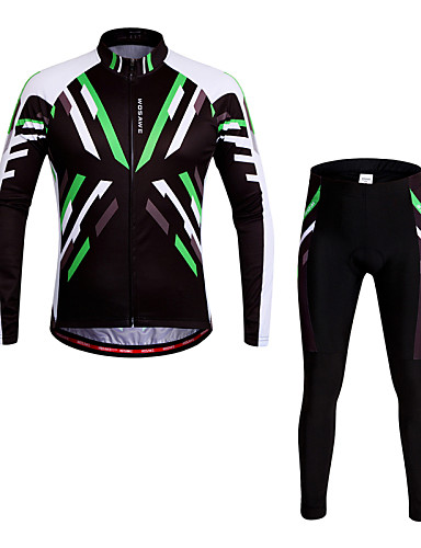 cheap Cycling Clothing-WOSAWE Men's Women's Long Sleeve Cycling Jersey with Tights Green Bike Pants / Trousers Jersey Tights Breathable 3D Pad Quick Dry Anatomic Design Reflective Strips Sports Polyester Spandex Mountain