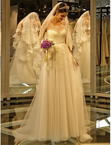 Linha A Ilusão Decote Cauda Escova Renda Tule Vestido de casamento com Miçangas Apliques de LAN TING BRIDE®