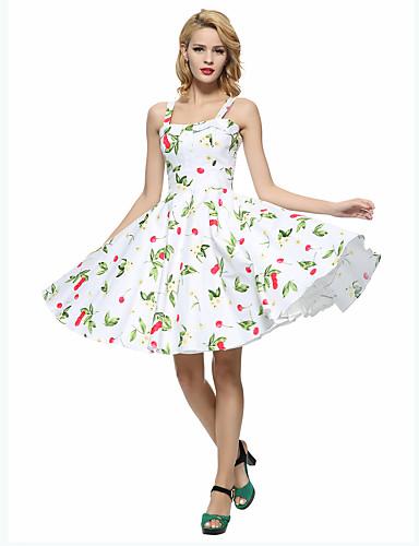 Women's Vintage A Line / Skater Dress - Floral Ruffle