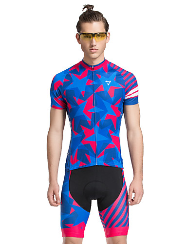 cheap Cycling Clothing-TASDAN Men's Short Sleeve Cycling Jersey with Shorts - Blue Bike Shorts Jersey Clothing Suit Breathable 3D Pad Quick Dry Reflective Strips Back Pocket Sports Stars Mountain Bike MTB Road Bike Cycling