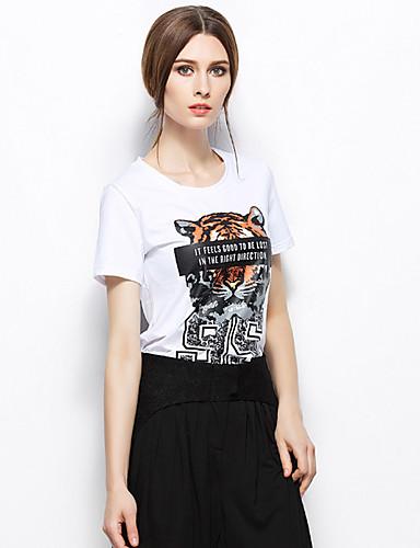 Zishangbaili® Női Kerek Rövid ujjú Shirt és blúz Ivory-TX1502