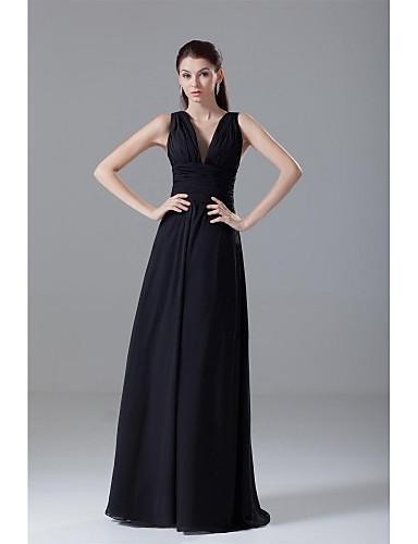 e48b3aed67a66 A-الخط V رقبة طول الأرض شيفون ظهر مفتوح حفلة كوكتيل   حفلة رسمية فستان مع  ثنيات   ثنيات جانبية بواسطة TS Couture®