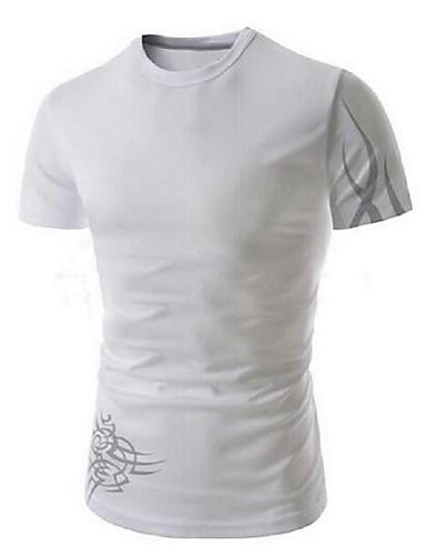 Menn Fritid / Sport Trykk T-skjorte,Bomull Kortermet-Svart / Blå / Hvit
