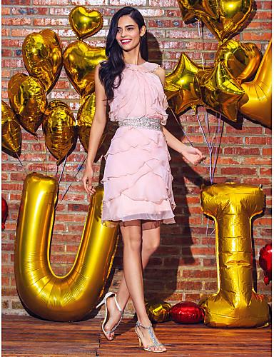 Ίσια Γραμμή Με Κόσμημα Μέχρι το γόνατο Σιφόν Κοκτέιλ Πάρτι Φόρεμα με Χάντρες / Ζώνη / Κορδέλα με TS Couture®