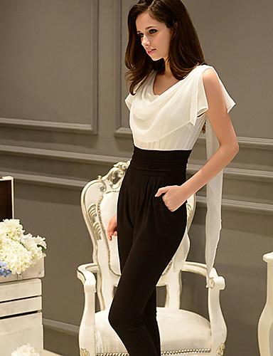 dabuwawa kvinners lappe hvite jumpsuits, arbeid / casual / dag rundt halsen kort erme