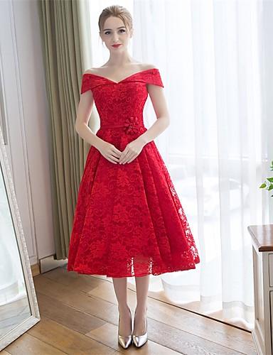A-Linie Schulterfrei Tee-Länge Spitze Satin Brautjungfernkleid mit Spitze durch Embroidered Bridal