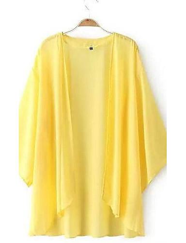 אחיד צווארון עגול פשוטה / בוהו יום יומי\קז'ואל חולצה נשים,קיץ שרוול ארוך לבן / שחור / צהוב דק פוליאסטר