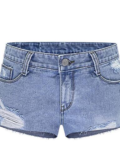 Damen Mittlere Hüfthöhe Mikro-elastisch Haremshosen Jeans Hose,Baumwolle Sommer Solide