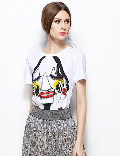 Zishangbaili® Damen Rundhalsausschnitt Kurze Ärmel Shirt & Bluse Weiß-TX1508