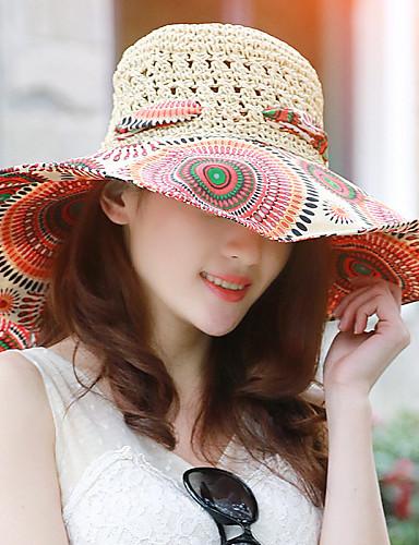 Femme Rétro Décontracté Chapeau de Paille - Imprimé