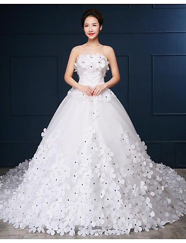 Ball Gown Strapless Cathedral Train Tulle Wedding Dress with Beading Flower by Embroidered Bridal