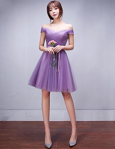 Kurz / mini Tüll lace-up Brautjungfer Kleid - a-line off-the-Schulter mit Bogen (s)