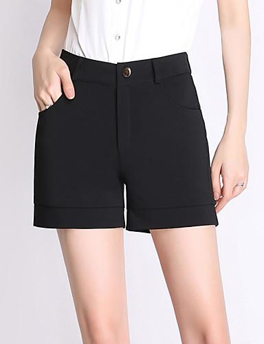 Mulheres Tamanhos Grandes Cintura Alta Shorts / Negócio Calças - Sólido