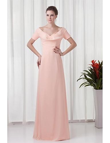 Eng anliegend V-Ausschnitt Boden-Länge Chiffon Formeller Abend Kleid mit Gerafft durch