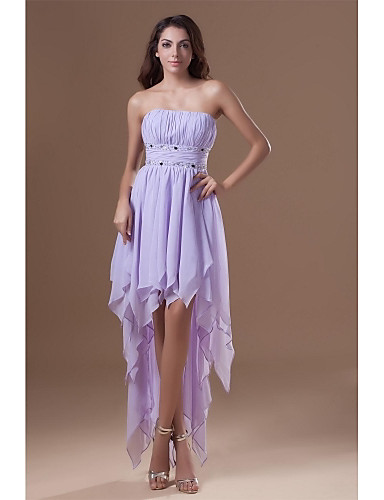 A-Linie Trägerlos Asymmetrisch Chiffon Cocktailparty Abiball Kleid mit Perlenstickerei Drapiert durch TS Couture®