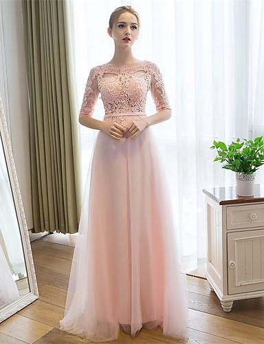 717d6b045c62 Ίσια Γραμμή Scoop Neck Μακρύ Δαντέλα   Τούλι Χοροεσπερίδα   Επίσημο Βραδινό  Φόρεμα με Ζώνη