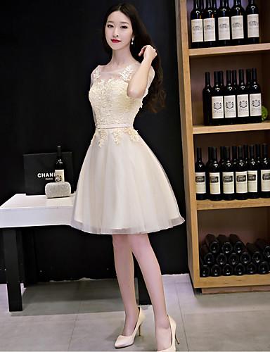 A-Linie Illusionsausschnitt Knie-Länge Spitze Tüll Cocktailparty Kleid mit Spitze durch QZ