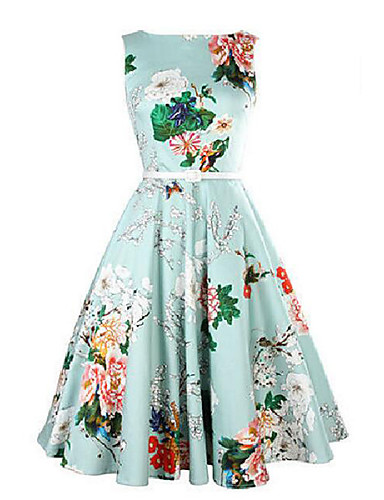 Women's Party Vintage A Line Dress,Floral Print Round Neck Midi Sleeveless Cotton Summer Mid Rise Micro-elastic